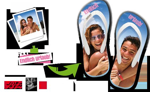 flippige und individuelle badelatschen mit foto selbst gestalten. Black Bedroom Furniture Sets. Home Design Ideas