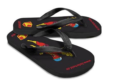 Werbeartikel: Flippige Sandalen mit Logodruck